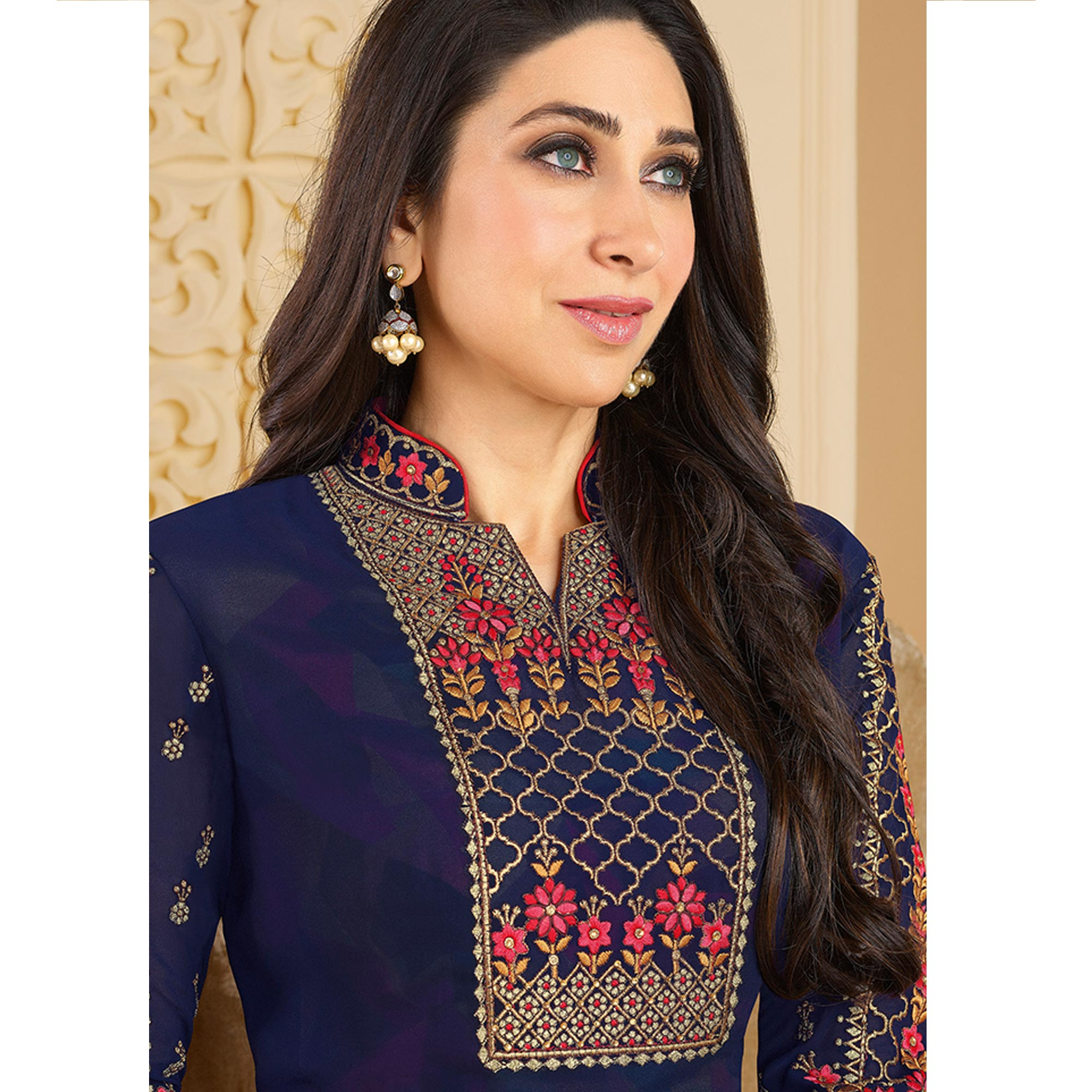 Fantastic Blue Colored Partywear Embroidered Georgette Palazzo Suit