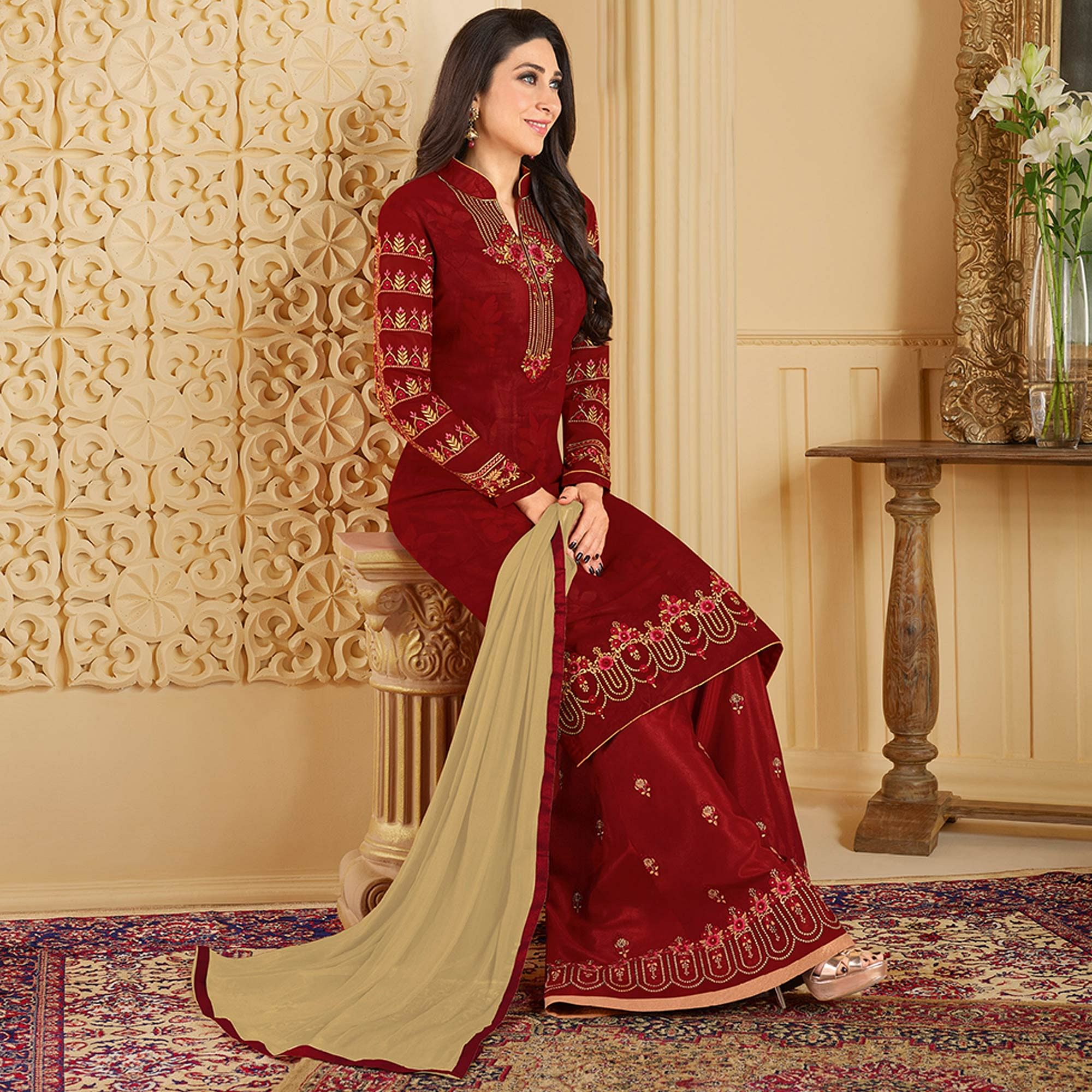 Desirable Red Colored Partywear Embroidered Georgette Palazzo Suit