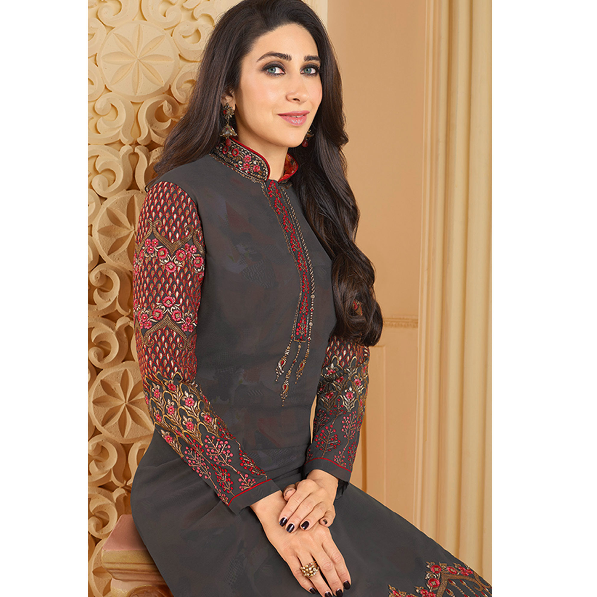 Staring Dark Gray Colored Partywear Embroidered Georgette Palazzo Suit