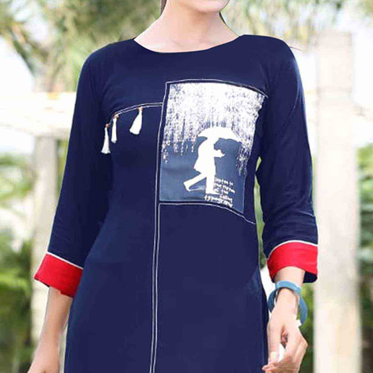 Flattering Dark Blue Colored Casual Printed Rayon Kurti