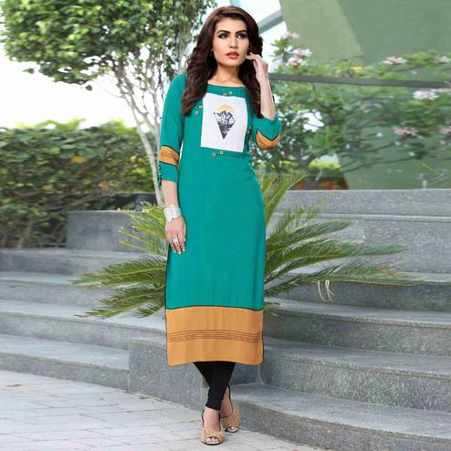 Glowing Turquoise Green Colored Casual Printed Rayon Kurti
