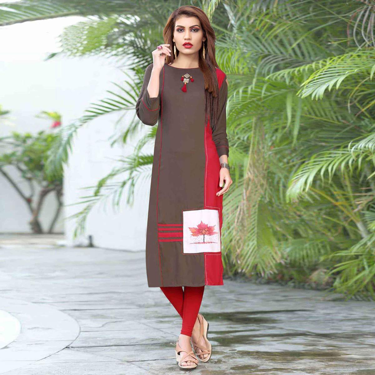 Exceptional Coffee Brown Colored Casual Printed Rayon Kurti