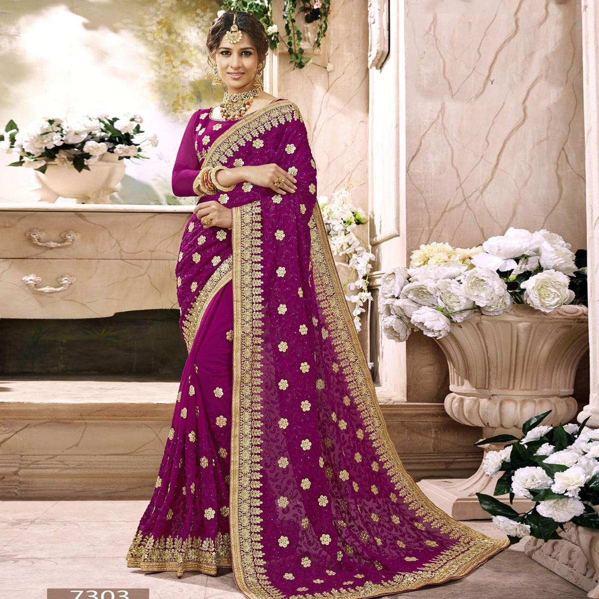Attractive Purple Colored Partywear Embroidered Faux Georgette Saree