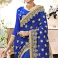 Glowing Blue Colored Partywear Embroidered Faux Georgette Saree