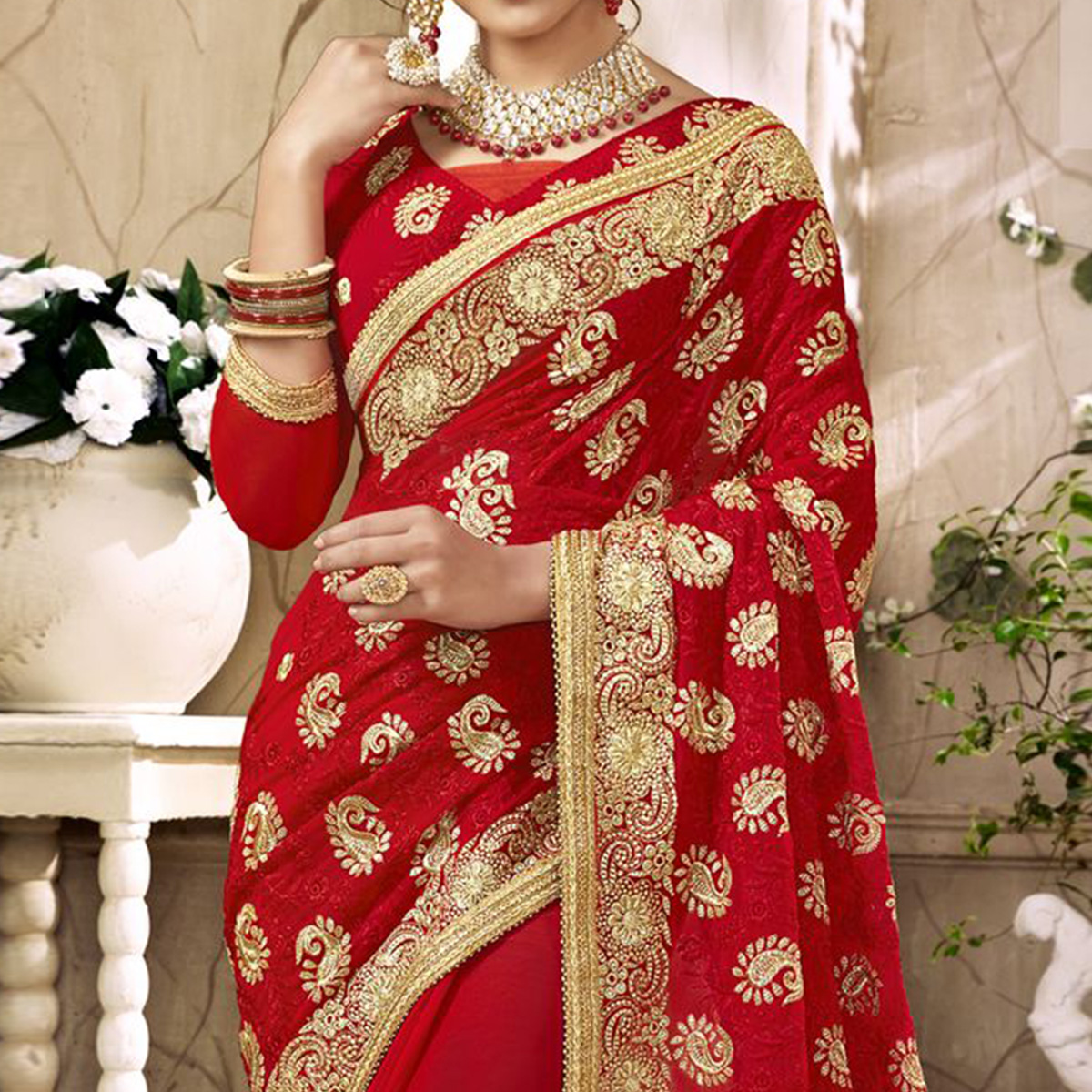 Trendy Red Colored Partywear Embroidered Faux Georgette Saree