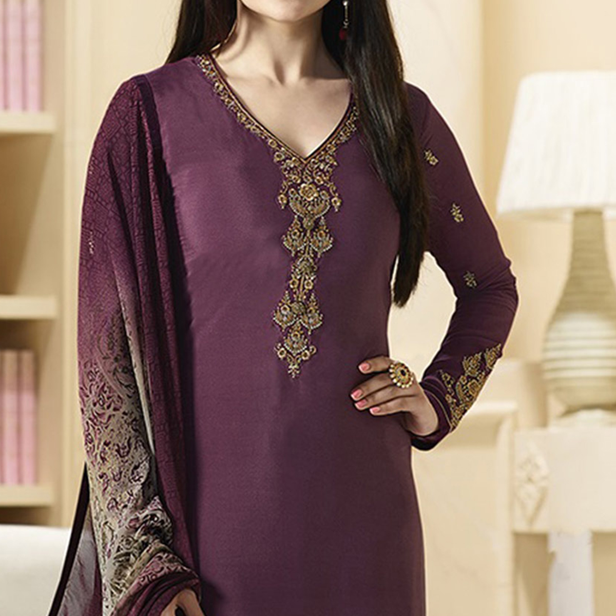 Stylish Purple Designer Embroidered Crepe Salwar Suit