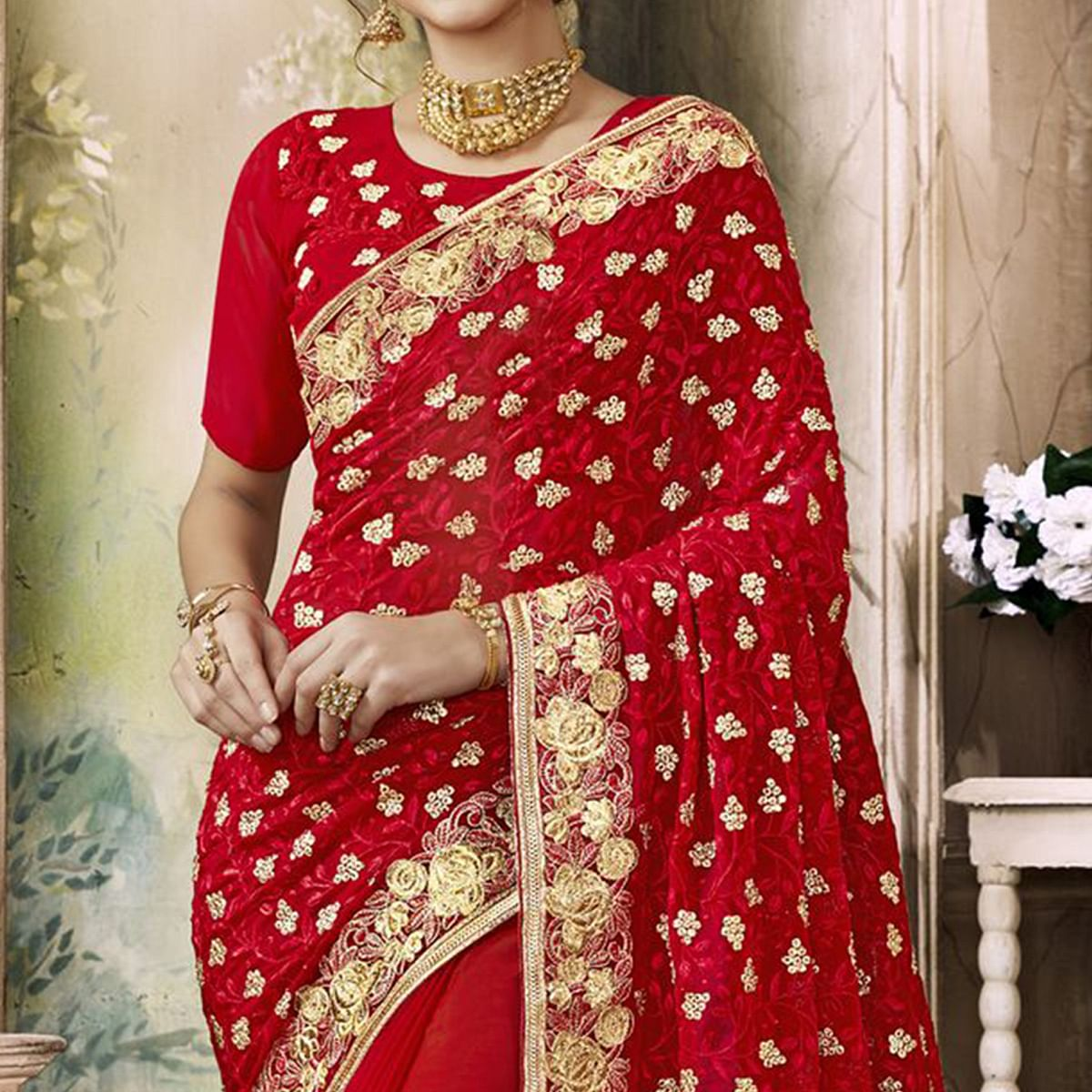 Mesmerising Red Colored Partywear Embroidered Faux Georgette Saree