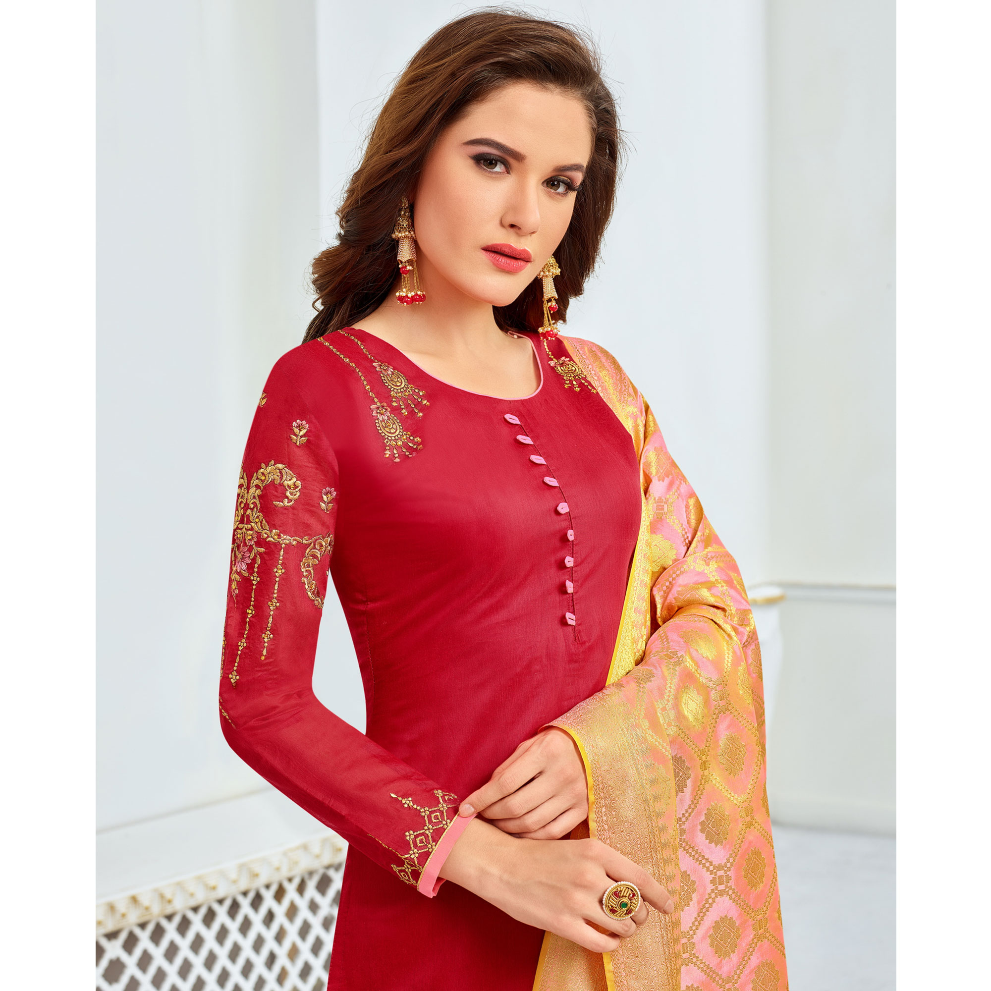 Preferable Red Colored Party Wear Embroidered Chanderi Silk Suit