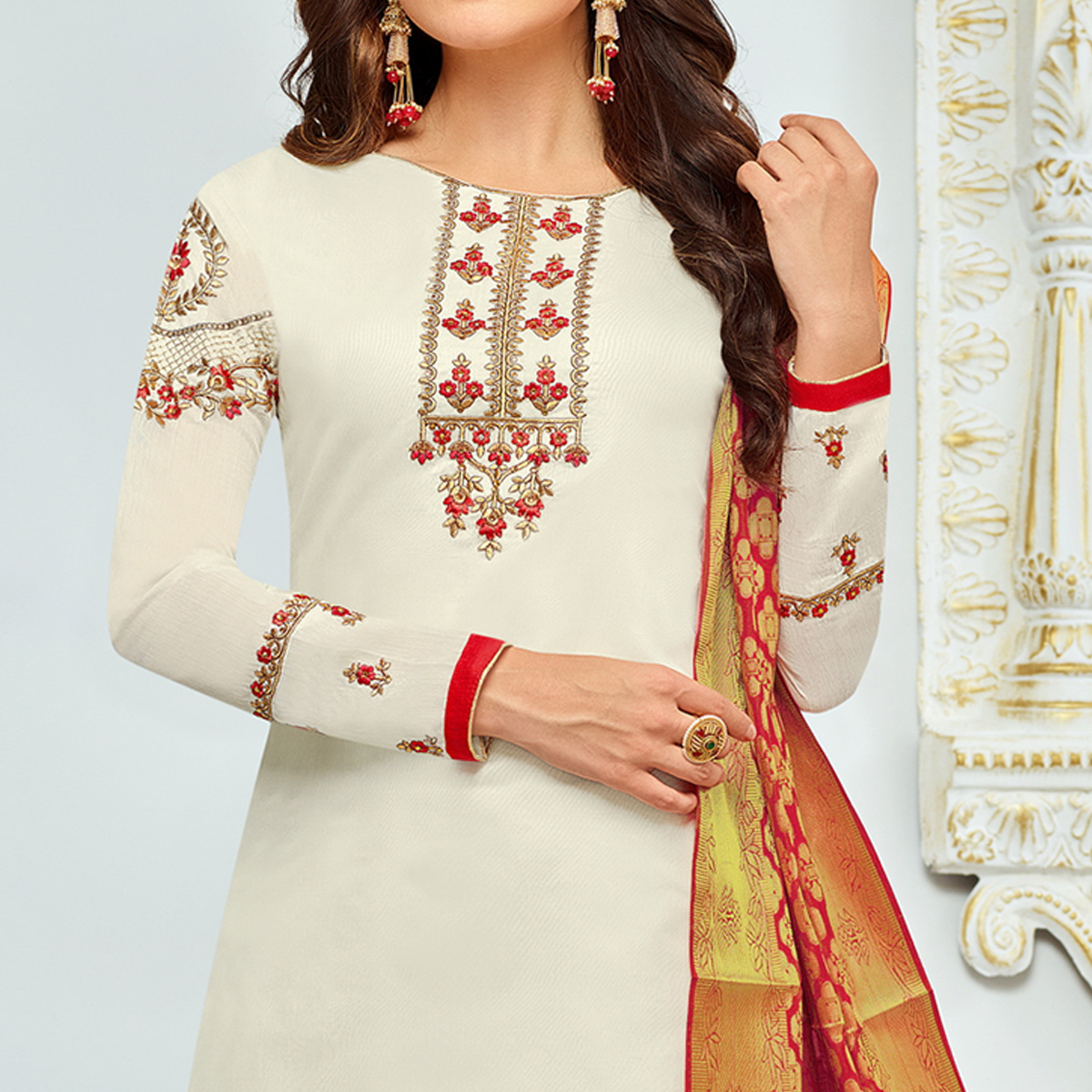 Attractive White Colored Party Wear Embroidered Chanderi Silk Suit