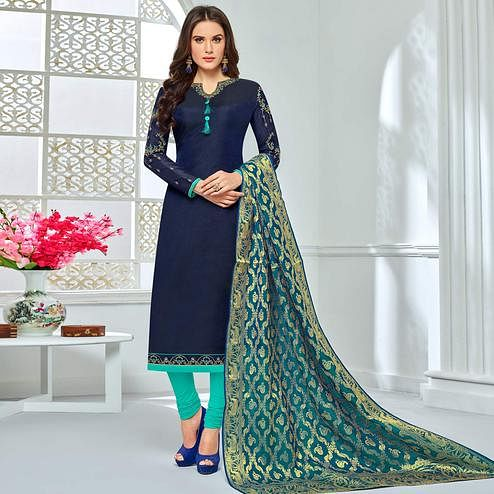 Beautiful Navy Blue Colored Party Wear Embroidered Chanderi Silk Suit