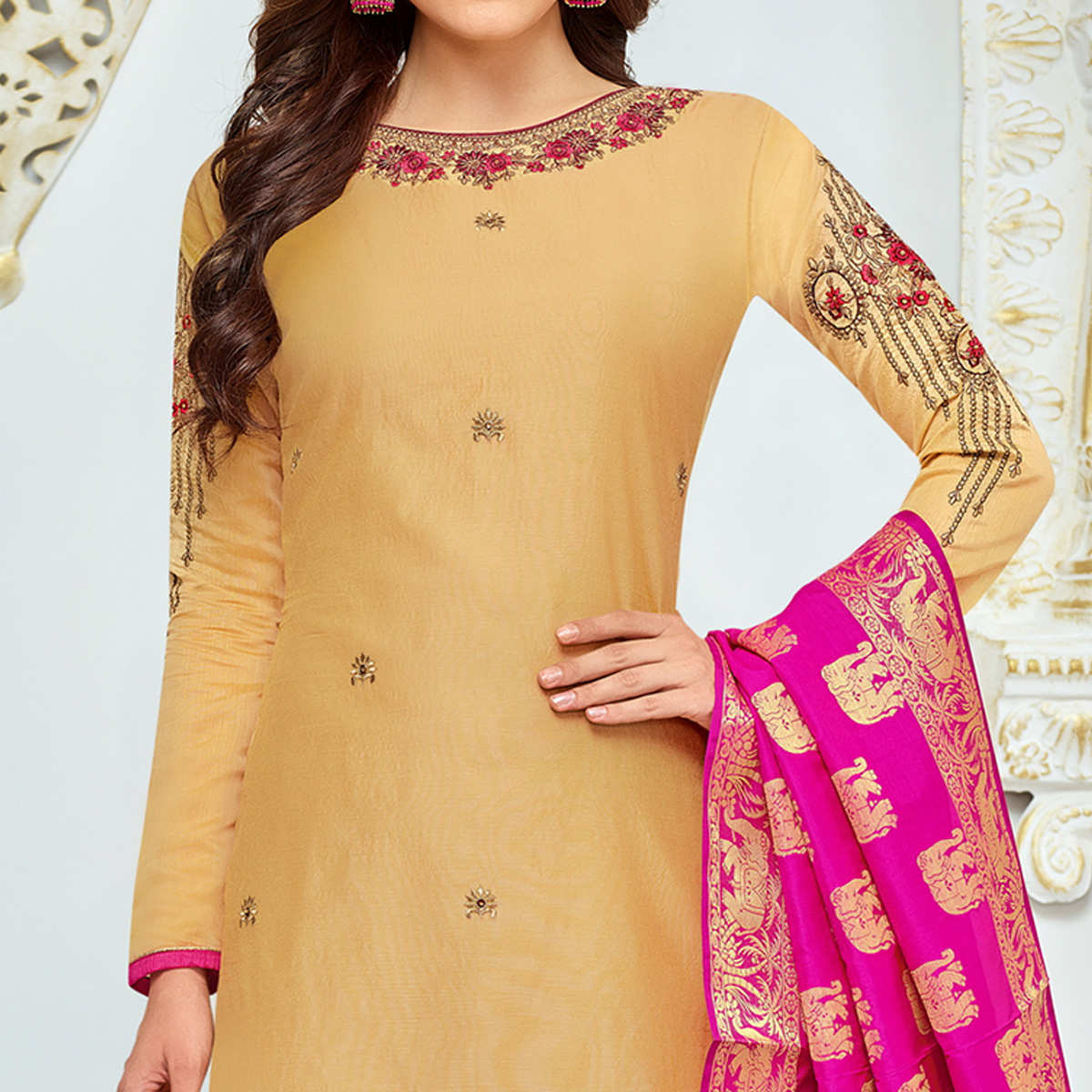 Gorgeous Beige Colored Party Wear Embroidered Chanderi Silk Suit