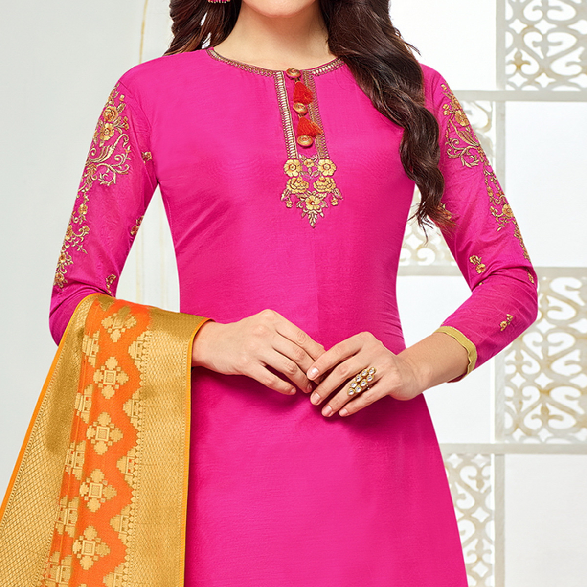 Classy Dark Pink Colored Party Wear Embroidered Chanderi Silk Suit