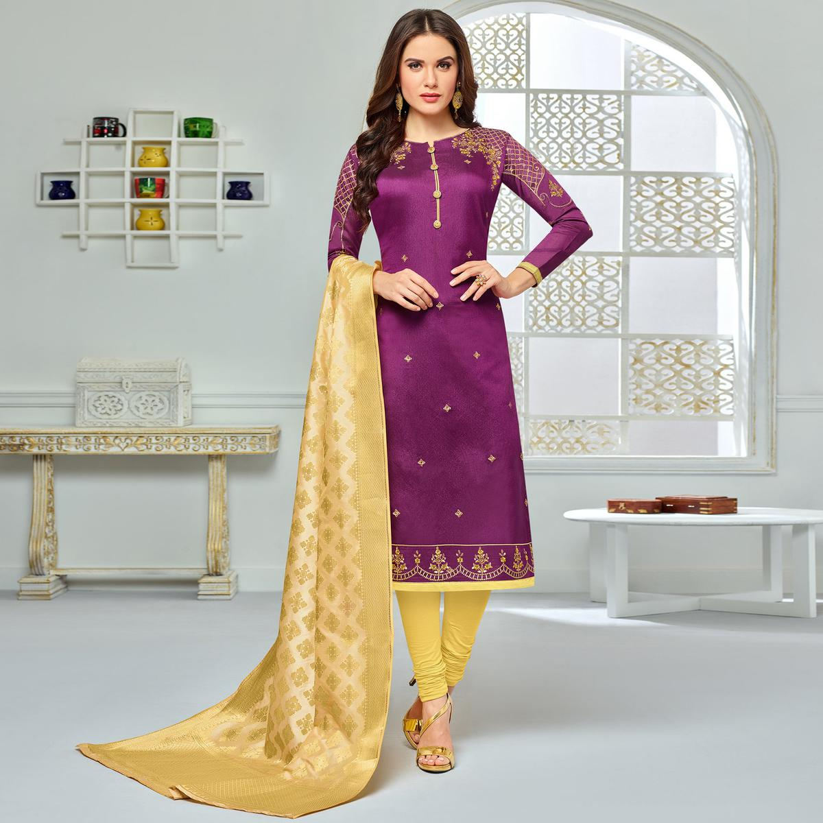 Glorious Purple Colored Party Wear Embroidered Chanderi Silk Suit