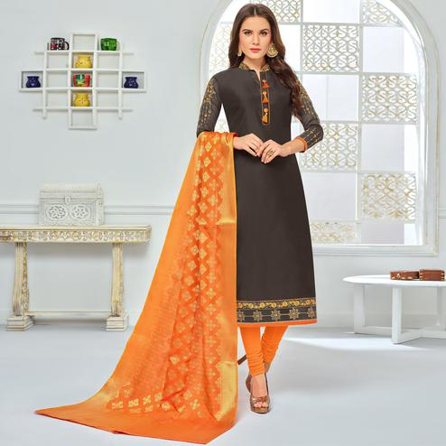 Graceful Coffee Brown Colored Party Wear Embroidered Chanderi Silk Suit