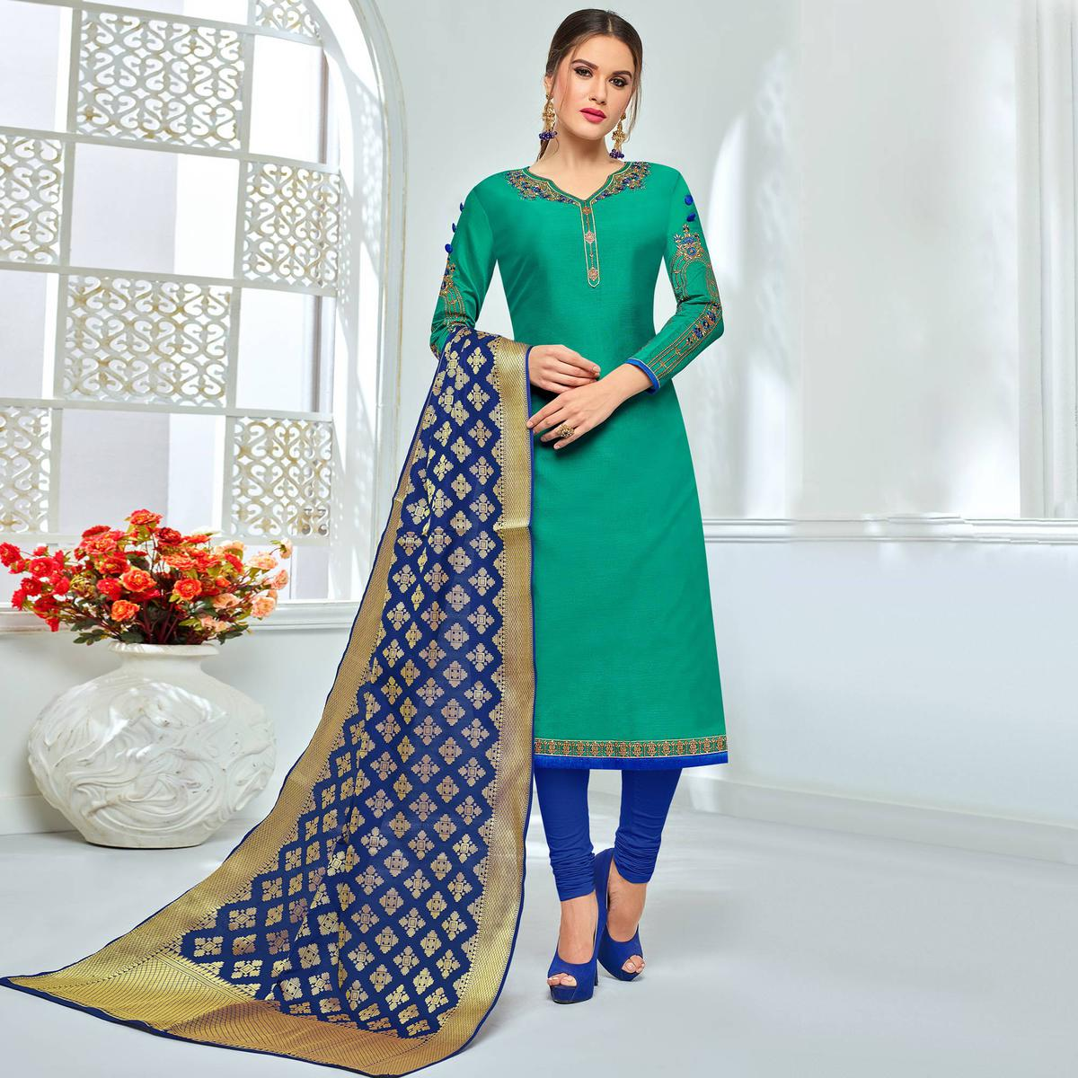 Lovely Teal Green Colored Party Wear Embroidered Chanderi Silk Suit
