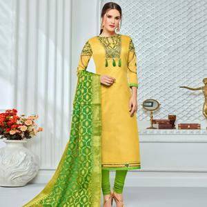 Pretty Yellow Colored Party Wear Embroidered Chanderi Silk Suit