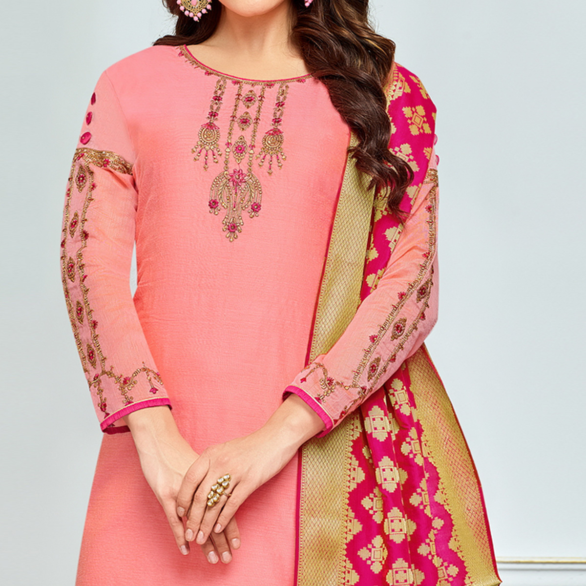 Graceful Pink Colored Party Wear Embroidered Chanderi Silk Suit