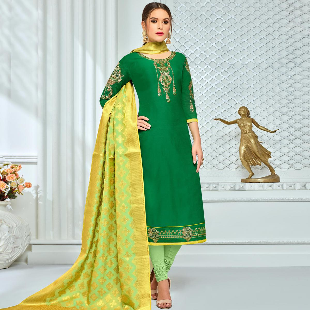 c99d6a742 Buy Lovely Green Colored Party Wear Embroidered Chanderi Silk Suit for  women s online India