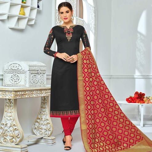 Pretty Black Colored Party Wear Embroidered Chanderi Silk Suit
