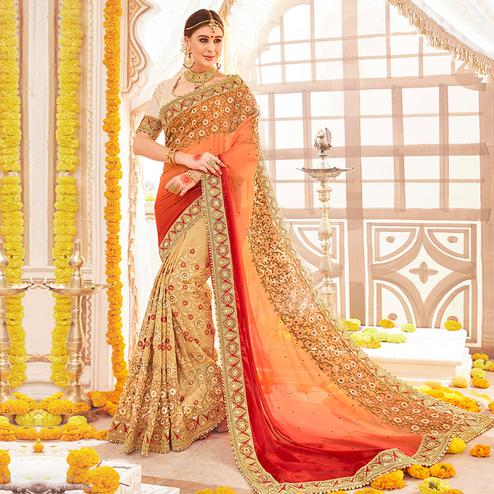 Arresting Beige Colored Partywear Embroidered Georgette Half-Half Saree
