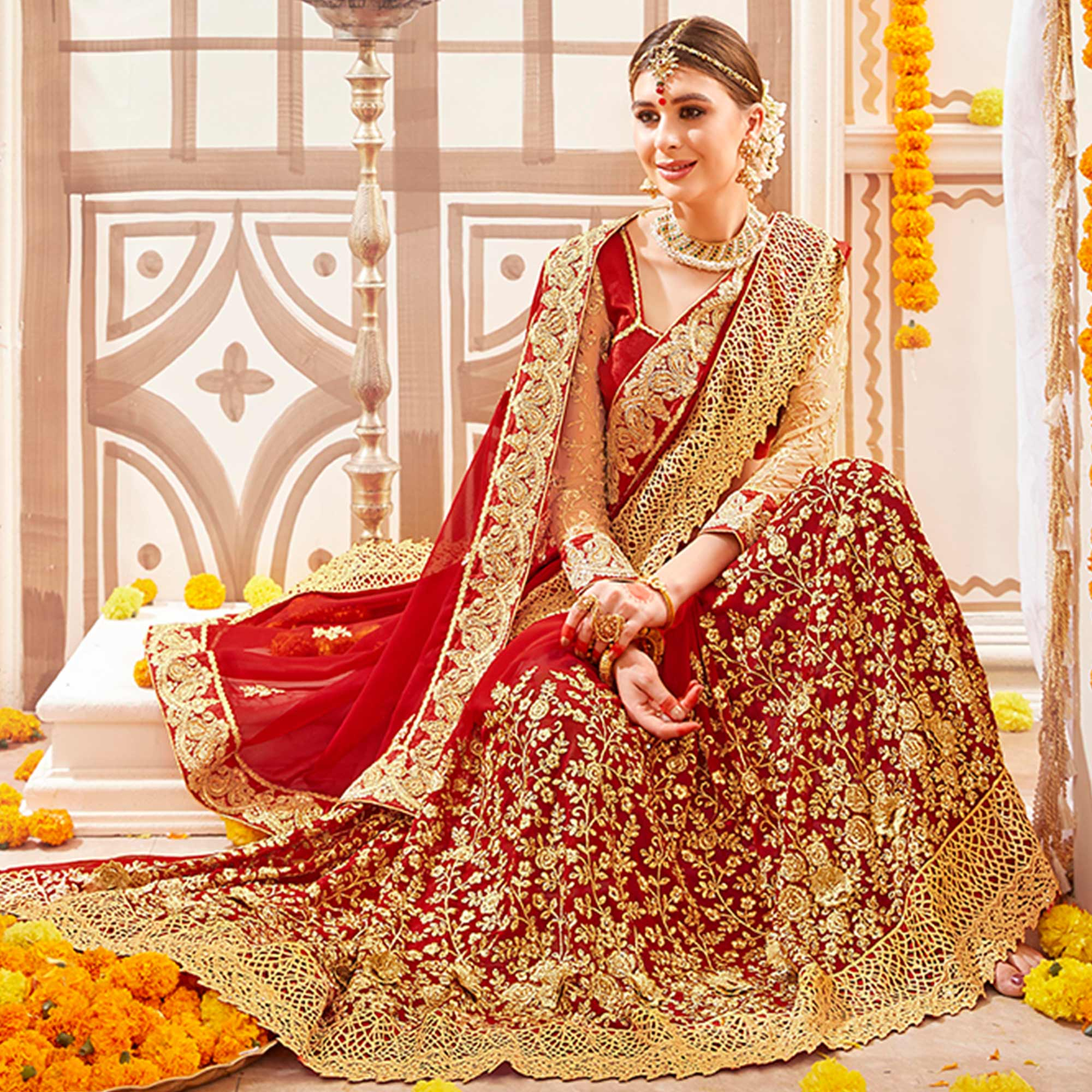Marvellous Red Colored Partywear Embroidered Georgette Saree