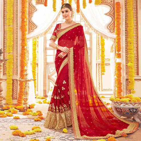 Traditional Red Colored Partywear Embroidered Georgette Saree