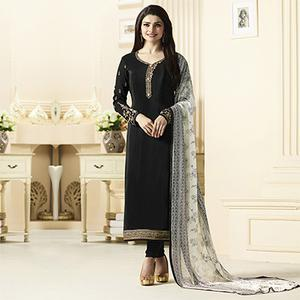 Stunning Black Designer Embroidered Crepe Salwar Suit