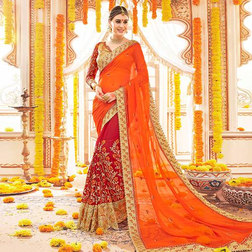 Amazing Red-Orange Colored Partywear Embroidered Georgette Half-Half Saree