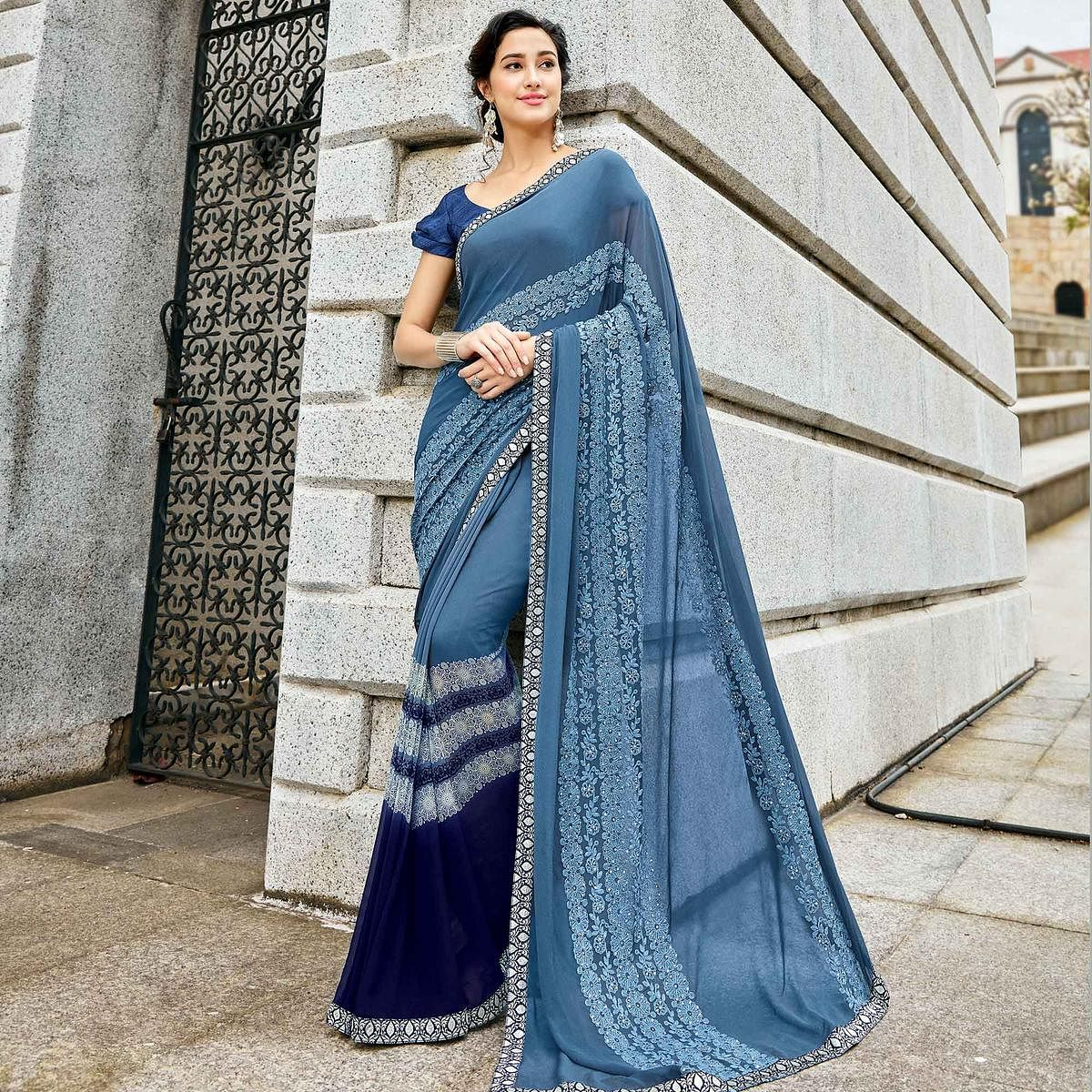 Amazing Blue-Gray Colored Partywear Embroidered Georgette-Chiffon Saree