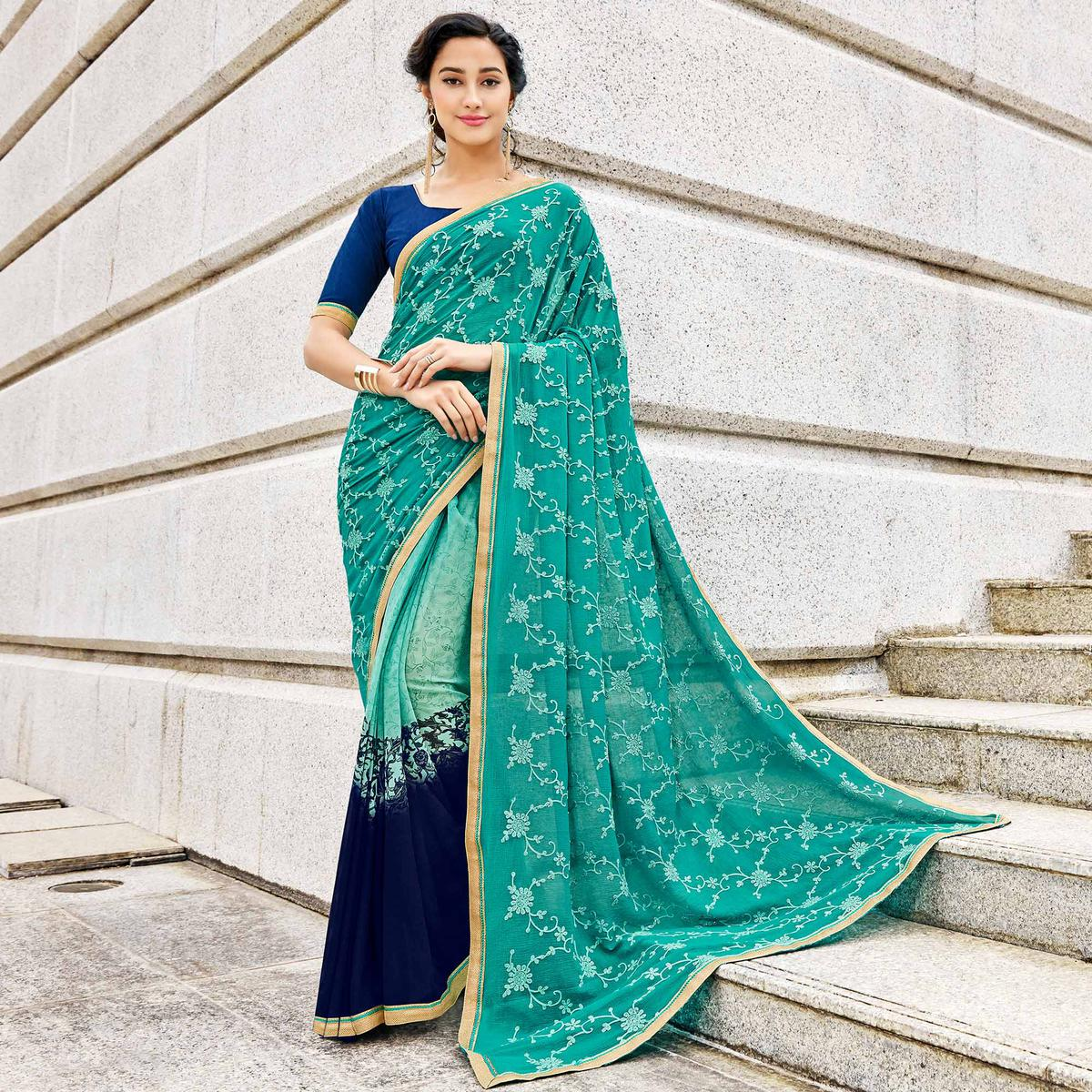 Demanding Turquoise Green Colored Partywear Embroidered Half-Half Georgette-Chiffon Saree