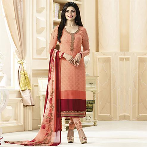 Gorgeous Peach Designer Embroidered Crepe Salwar Suit