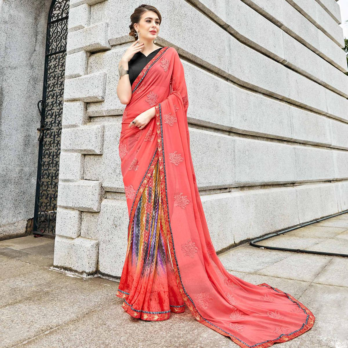 Impressive Peach Colored Partywear Embroidered Half-Half Georgette-Chiffon Saree