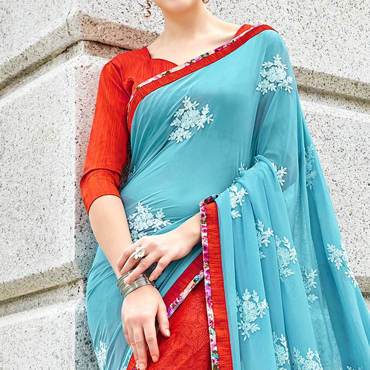 Eye-Catching Multi Colored Partywear Embroidered Half-Half Georgette-Chiffon Saree