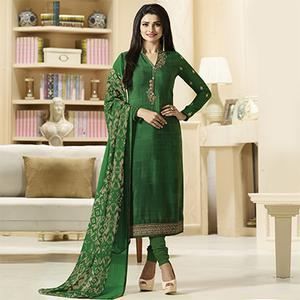 Elegant Green Designer Embroidered Crepe Salwar Suit