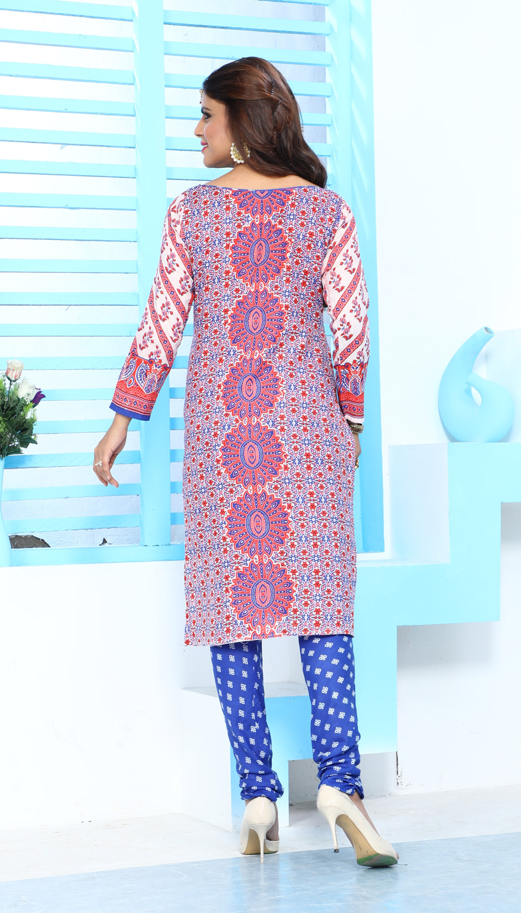 Beautiful Red & Blue Cotton Printed Casual Dress Material