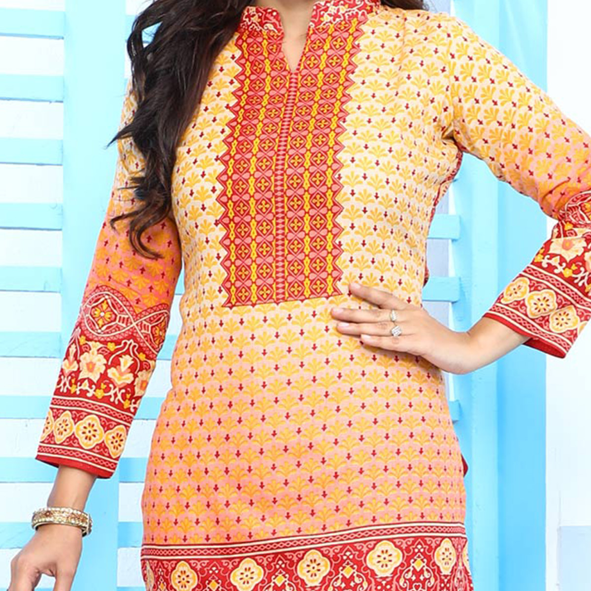 Stylish Cream & Red Cotton Printed Casual Dress Material