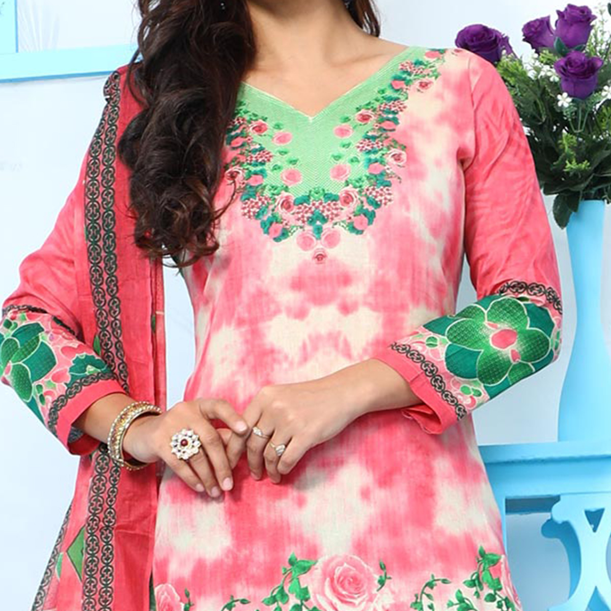 Stunning Green & Pink Digital Printed Casual Dress Material