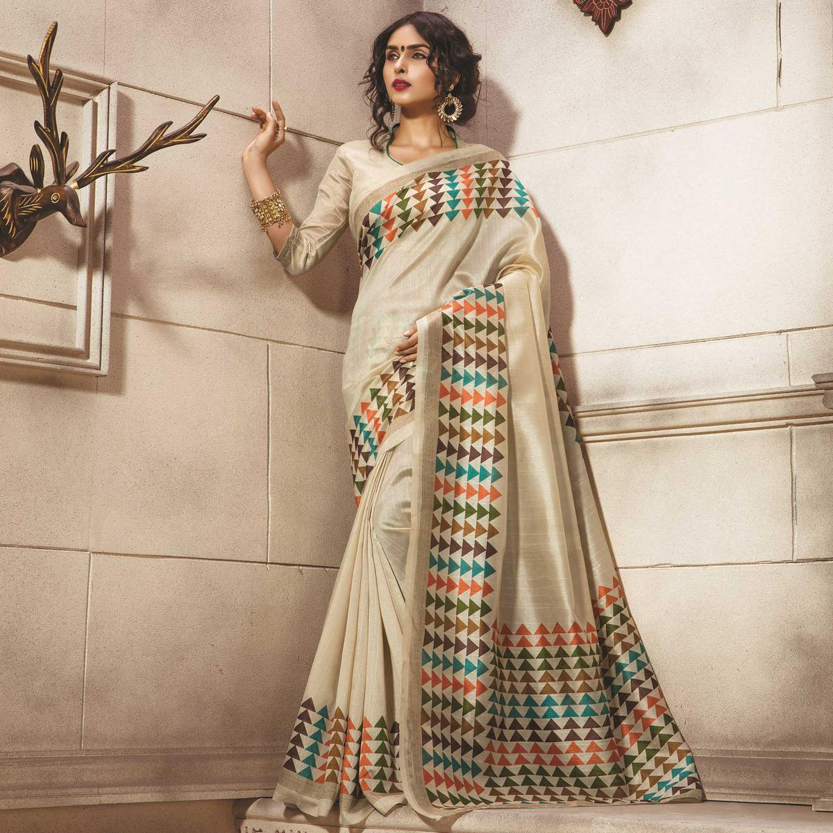 Cream Casual Wear Bhagalpuri Printed Saree