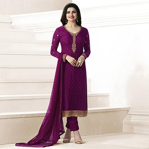Purple Partywear Embroidered Suit