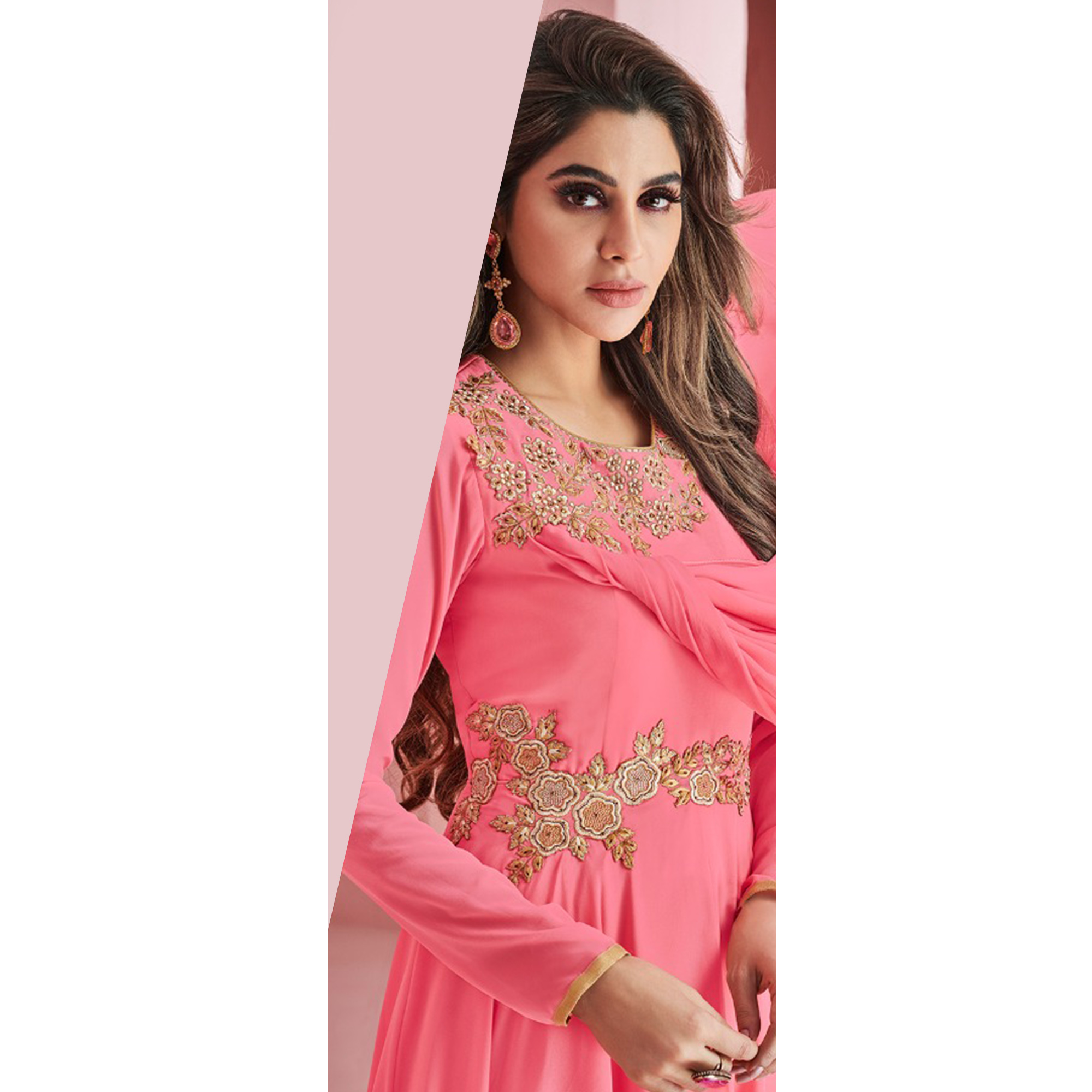 Amazing Pink Colored Partywear Embroidered Faux Georgette Gown