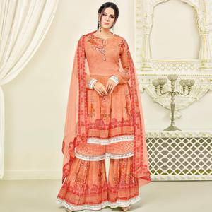 Classy Orange Colored Party Wear Printed Faux Georgette Palazzo Suit