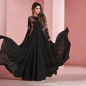Stunning Black Colored Partywear Embroidered Faux Georgette Gown