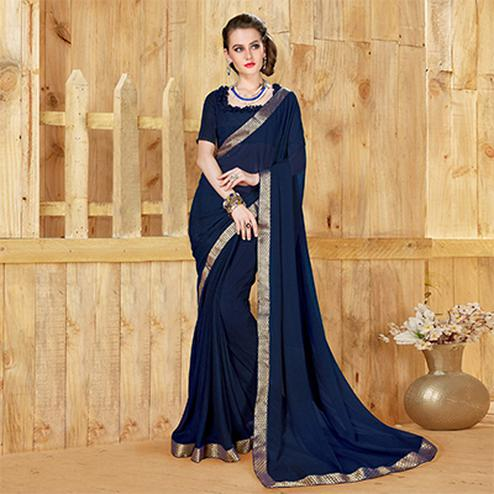 Trendy Blue Georgette Printed Saree