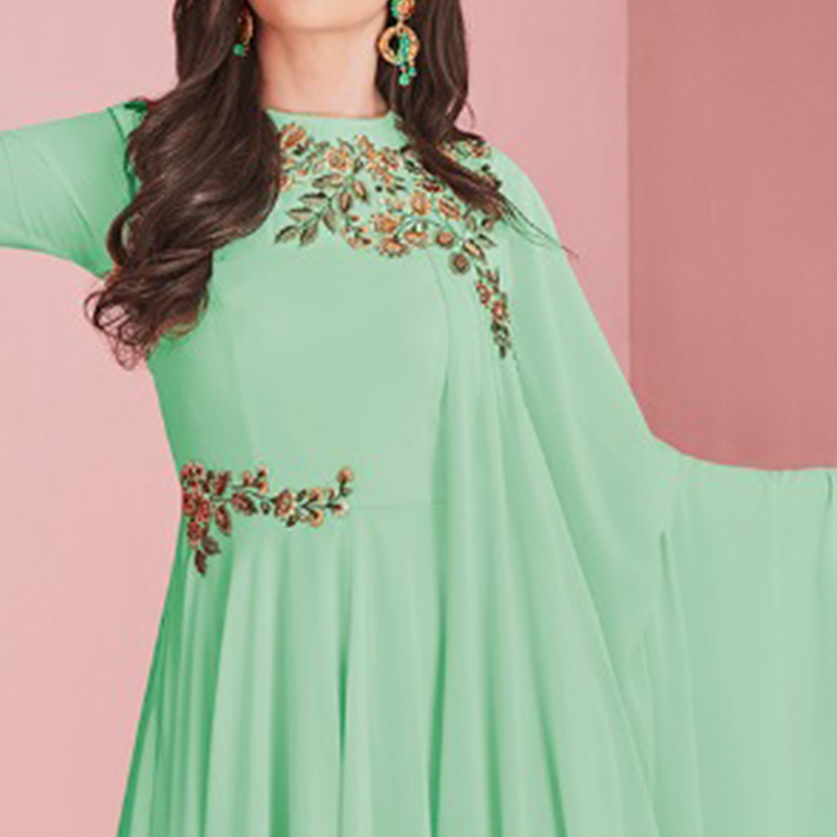 Marvellous Aqua Green Colored Partywear Embroidered Faux Georgette Gown