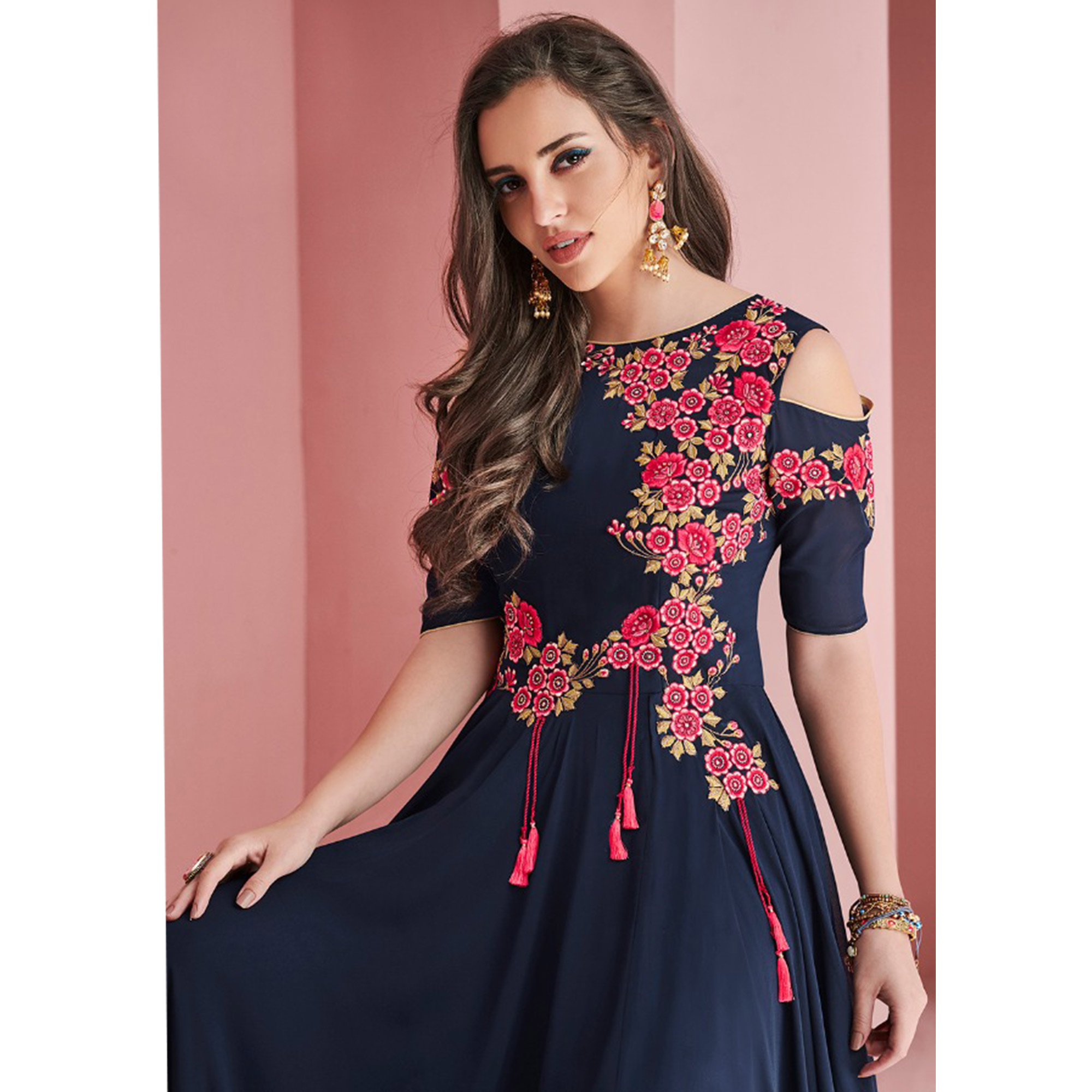Gorgeous Navy Blue Colored Partywear Embroidered Faux Georgette Gown