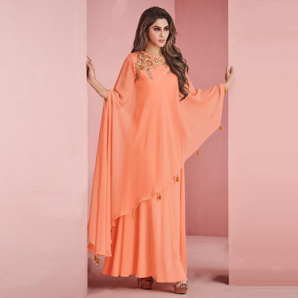 Fantastic Peach Colored Partywear Embroidered Faux Georgette Gown