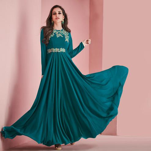 Glorious Teal Green Colored Partywear Embroidered Faux Georgette Gown