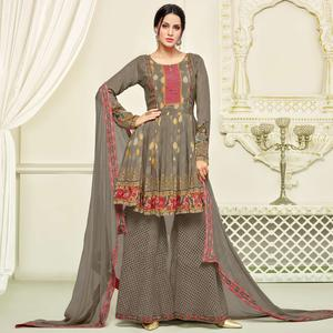 Glorious Grey Colored Party Wear Printed Faux Georgette Palazzo Suit