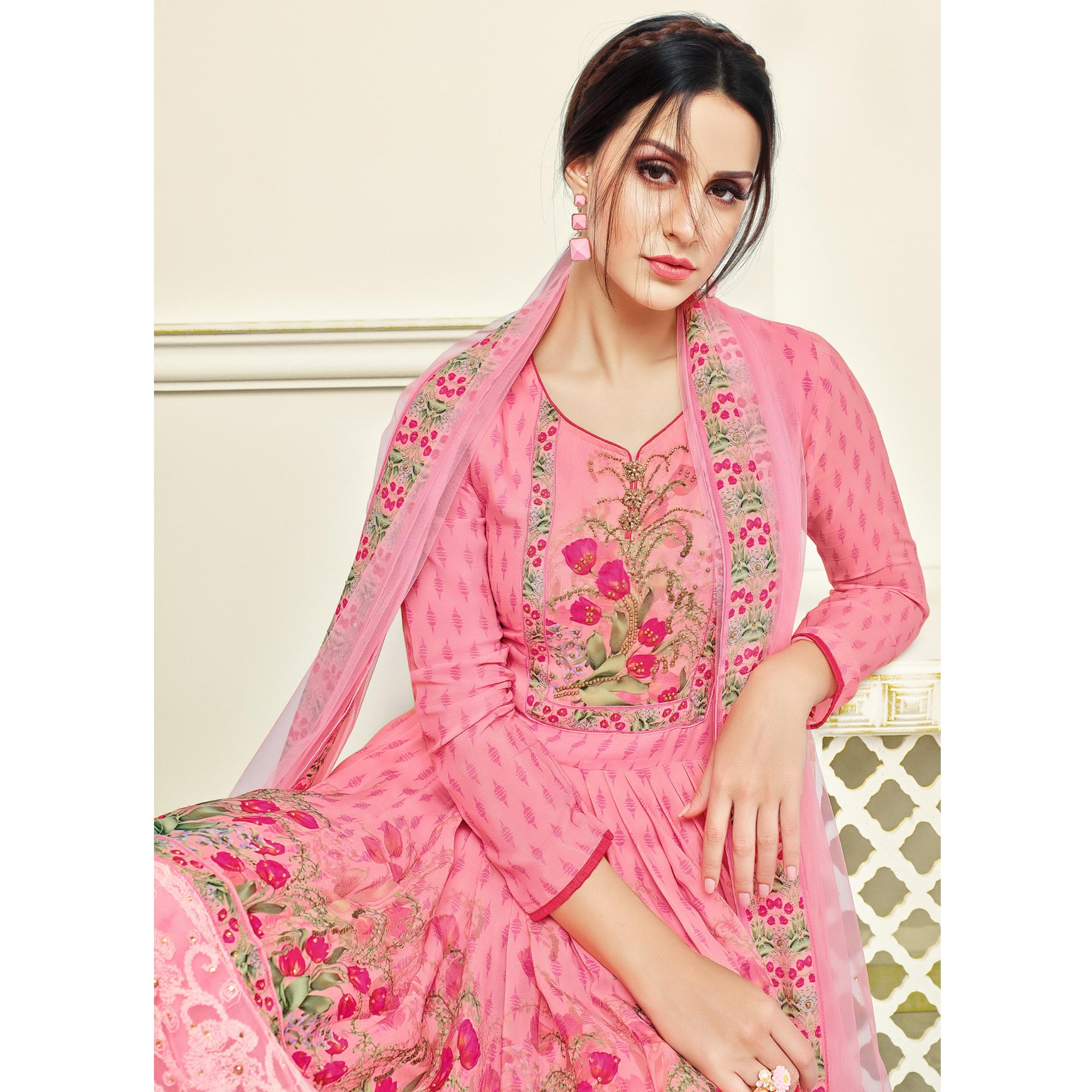 Pretty Pink Colored Party Wear Printed Faux Georgette Palazzo Suit