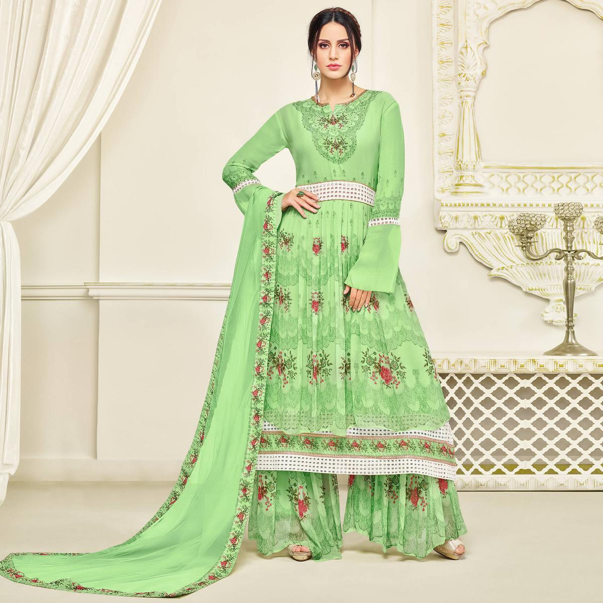 Ravishing Green Colored Party Wear Printed Faux Georgette Palazzo Suit